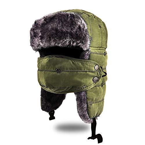 BROTOU Unisex Wintermütze mit Ohrenklappen, Kunstfellmütze, Fliegermütze, Trappermütze; hält warm beim Skifahren, Schlittschuhlaufen und Anderen Outdoor-Aktivitäten (Grün)