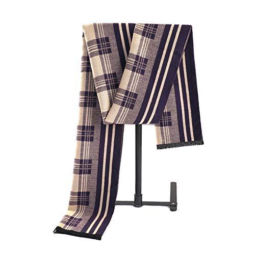 LCSD Bufandas Casual de Negocios Babero púrpura del Regalo de la Tela Escocesa del Invierno del otoño de imitación de la Cachemira de la Raya del Bloque del Color de los Hombres de la Bufanda