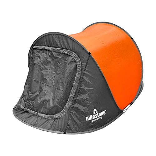Milestone Camping Two Person Pop Up Tent - Orange