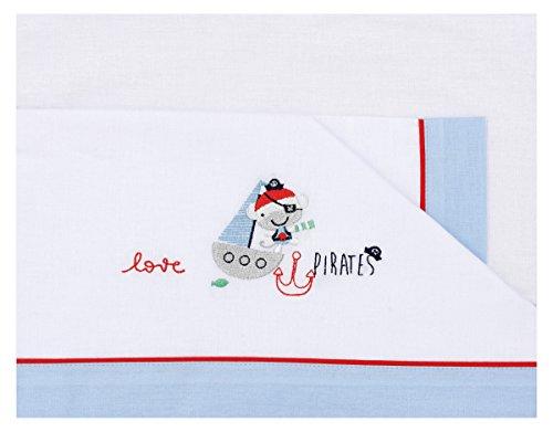 Conjunto de sábanas con piratas, 80 x 140 cm, blanco y azul.