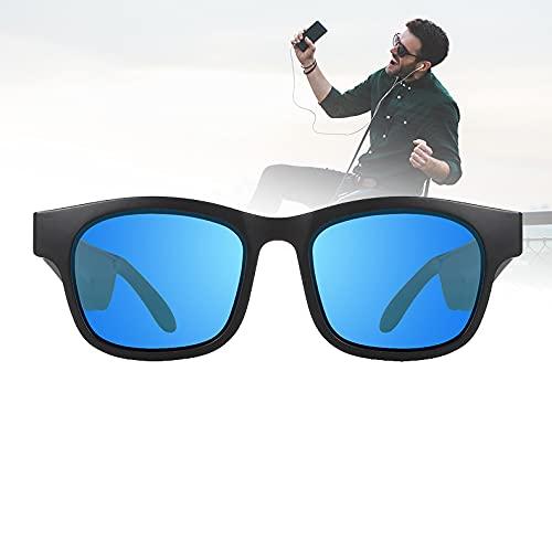 FRIBLSKEL Gafas Sol Polarizadas con Llamada Bluetooth Gafas Audio para Hombres Mujer Lente UV400 Gafas Sol con Auriculares Abiertos para Conducir, Viajar, Al Aire Libre,Azul