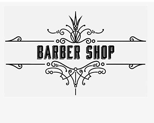 Vintage Barbería Pared Pegatina Publicidad Letrero Decoración Vinilo Pared Calcomanía Hombre Peinado Diseño Tienda Decoración Nórdica-57X93Cm Negro