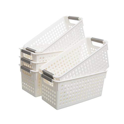 Citylife 6er Set Aufbewahrungskorb Kunststoff Aufbewahrungskiste Aufbewahrungskorb Weiß Badezimmer Kinderzimmer Plastic Storage Basket, 28.8*13.9*12.5cm