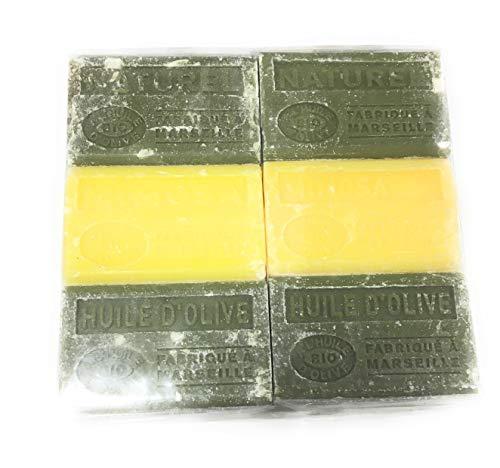 Lot de 6 savons BIO à l'huile d'olive. 6x125g - Parfums 2 Naturel, 2 Mimosa et 2 Huile d'olive
