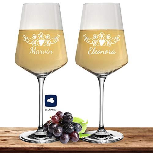 2X Leonardo Weißweinglas mit Namen oder Wunschtext graviert, 560ml, PUCCINI, personalisiertes Premium Weinglas in Gastroqualität (Weinrebe)