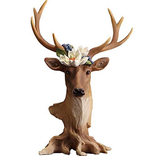 Pintado a mano cabeza de ciervo adornos decorativos nueva sala de estar decoración del hogar artesanías porche vino gabinete TV gabinete marrón
