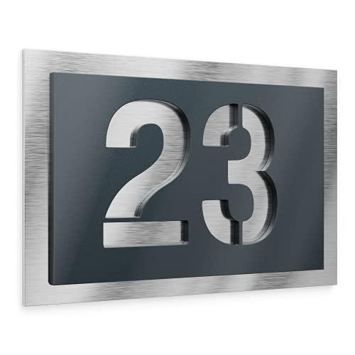 Graviers Design Plaque Numéro de Maison | Chiffres personnalisables | 160 x 110 mm Gris Anthracite RAL 7016 | Acier inoxydable | Fabriqué en Allemagne