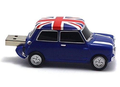 Homiki Memoria USB 2.0 Coche Vehículo PVC Plástico con Bandera de UK Pendrive Personalizados Originales Alta Velocidad (8G, Azul)