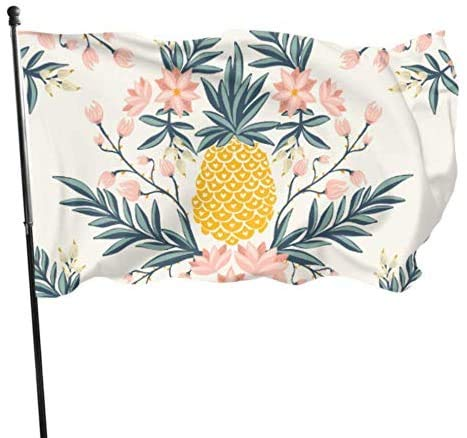 Viplili Banderas Tropical Vintage Seamless Pineapple Vector Flags Decoration Decorative Outdoor Flag 3x5 Feet Vibrant Colors Polyester and Brass Grommets