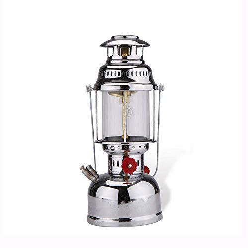 HIGHKAS Winddichte Gaslampe Tragbare Vintage Mantel Kerosin Lampe Camping Licht Außen Notlicht Silber Metall Gaslaterne Nachtlampe Leuchte
