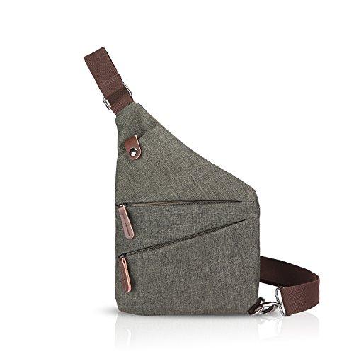 FANDARE Neu Brusttasche Segmentiert Schultertasche Herren Damen Sling Bag Crossover Rucksack Umhängetasche Sporttasche für Outdoor Reisen Wandern Abenteuer Sport Crossbody Bag Armee-Grün