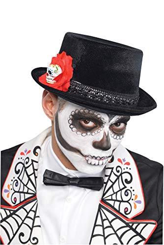 Amscan 843923-55 - Zylinder Tag des Todes, 1 Stück, Einheitsgröße für Erwachsene, Schwarz-Rot, Hut mit Totenkopf, Blüte und Zierband, Karneval, Halloween, Verkleidung, Kostüm, Day of the Dead