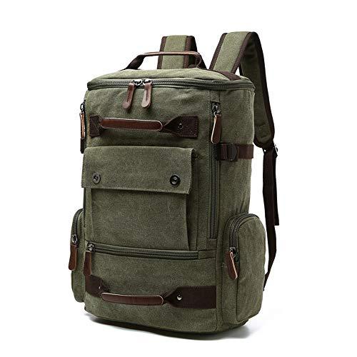 BYEON School Backpack Vintage Canvas Laptop Backpacks Men Women Rucksack Bookbags,Army Green