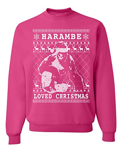 Harambe Loved Christmas Funny Xmas Gorilla Meme | Mens Ugly Christmas Sweater Crewneck Graphic Sweatshirt, Fuschia, Large