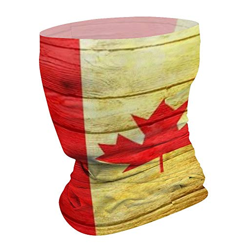 Canadian Flag Painted On Wooden Boards Seamless Headband Neck Gaiter Face Scarf Tube for Outdoor UV Sun-Protection Balaclavas