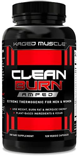 Kaged Muscle Clean Burn Amped Extreme Thermogenic for Men Women Weight Loss Supplement with product image