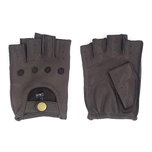 Harssidanzar Herren Halbfinger Lederhandschuhe für fahren Fingerlose Hirschleder ungefüttert Handschuhe GM005A,Braun,Größe XL