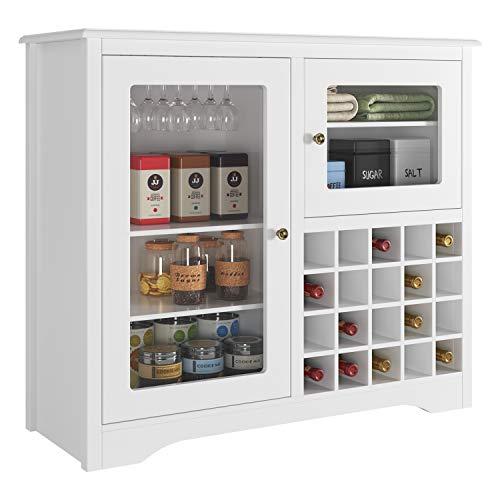 HOMECHO Mobile Portabottiglie Vino e Calici, Cantinetta Scaffale Porta per 20 Bottiglie, Bianco, 94.5 x 35 x 82 cm