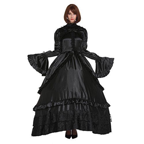 GOceBaby Abschließbare Gothic Lolita Punk Satin Schwarz Kleid Crossdresser Große Hülsenart, Schwarz, 3XL
