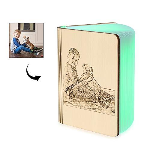 Personalizar Lámpara de Libro de Madera Libro USB Luz Magnética LED Lámpara...