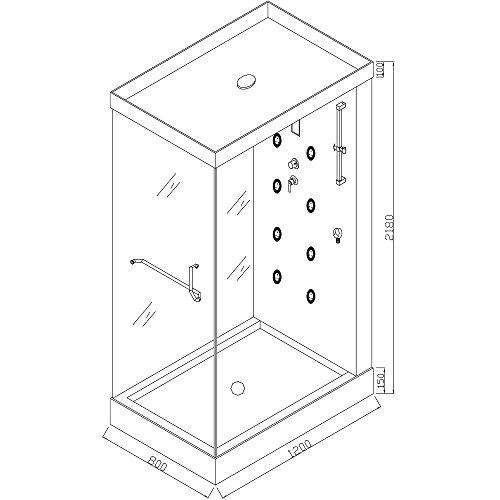 Home Deluxe Design M Duschtempel, inkl. Dampfdusche - 6