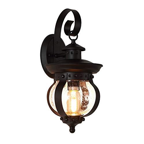 MAONB Retro industriële metalen ijzeren zwart wandlamp buitendeur tuin street hotel decoratieve wandlamp Europese vintage E27 buitenlucht waterdichte blaas glazen wandlantaarn lichten