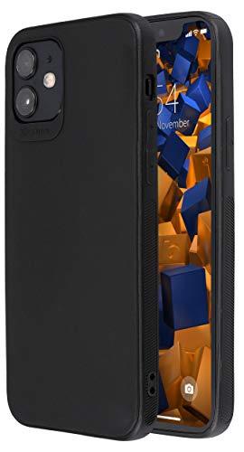 mumbi Hülle kompatibel mit iPhone 12 / iPhone 12 Pro Handy Hülle Handyhülle Double Grip, schwarz, Grip schwarz