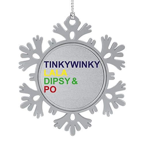 BEDKAGD Teletubbies Caracteres Lista de Navidad Colgantes Decoraciones de aleación de copo de nieve, recuerdos de Navidad, decoraciones navideñas personalizadas.