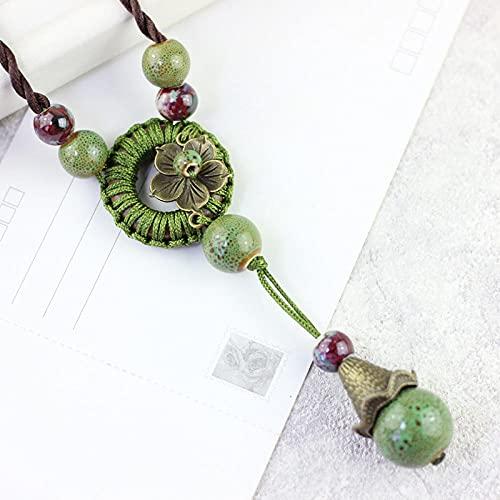 WQZYY&ASDCD Collar De Mujer Collar con Colgante Y Cuentas De Cerámica para Mujer Collar De Suéter Largo Estilo Étnico Retro-11