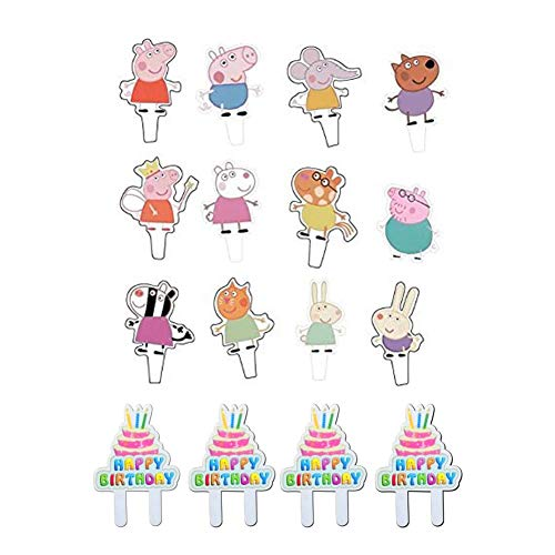 Peppa Pig 48Pcs  Cupcake Toppers Party Decorative Cupcake Topper for Kids Birthday Party Baby Shower