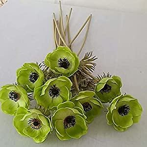 Artificial and Dried Flower Real Touch Flowers PU Rose Artificial Anemone Branch Bridal Bouquet Floral Arrangement Home Wedding Decor Fake Flower 9 Color – ( Color: Green )