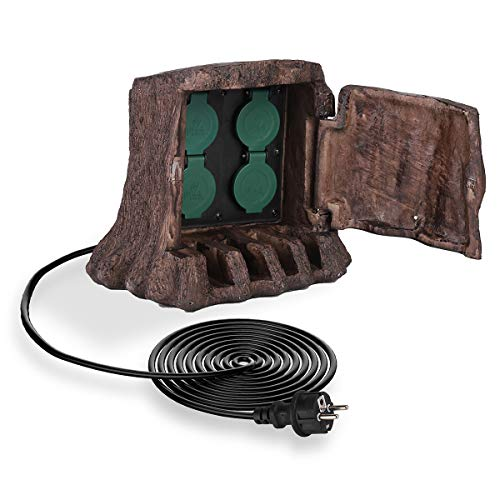 SALCAR 4 fach Outdoor Steckdose mit 3 m Kabel, 3680 W wasserdichte Gartensteckdose für den Außenbereich - braun