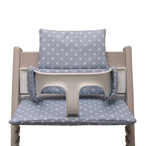 Blausberg Baby – hochwertiges Tripp Trapp Sitz-Kissen Set für Stokke Hochstuhl - 2-teilige Auflage/Polster/Sitzverkleinerer für Kinderhochstuhl – DIVERSE FARBEN (Grau Punkt)