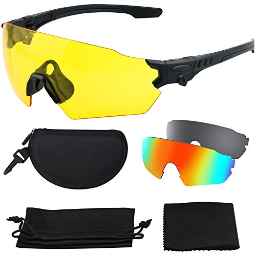 Affordable Shooting Glasses for Men and Women, XAegis Anti Fog Z87+ Safety Glasses Sport Sunglasses Tactical Interchangeable lenses with Case, UV Eye Protection