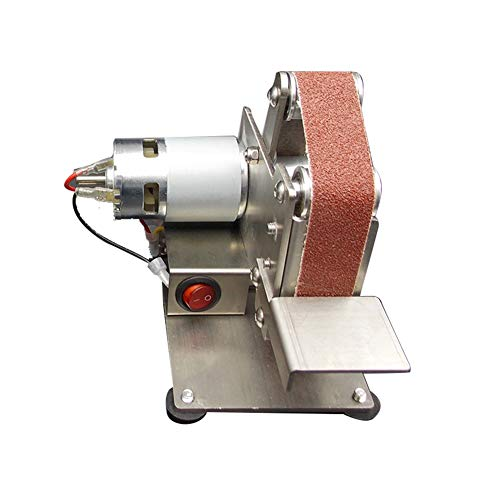 Tongdejing Mini Belt Sander Electric Belt Grinder, DIY Belt Grinder Polishing Grinding Machine with 10 Sand Belts, Adjustable Polishing Sanding Cutter Sharpener