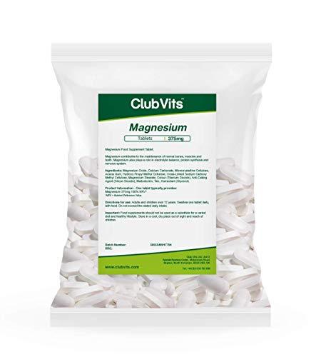 Club Vits Magnesium 375mg - 365 Tabletten Tüte mit Verschluss