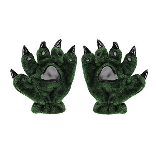 Halloween Kostüm Dinosaurier Bärentatze Handschuhe Cartoon Fingerhandschuhe Plüsch Vollfinger Handschuhe Kreative Winterhandschuhe Cosplay Maskerade Kostümzubehör Fasching Karneval Dress-up Prop