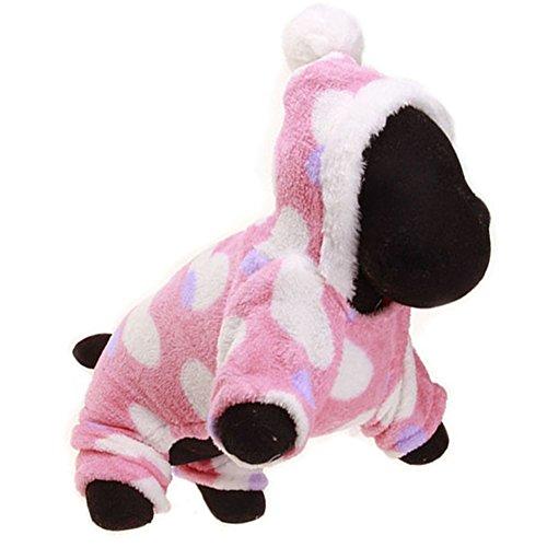 OMEM hond jassen met hoed, Kerst jurk koraal kasjmier dikke warme winter 1-3 jaar oud, XX-Large, Perzik