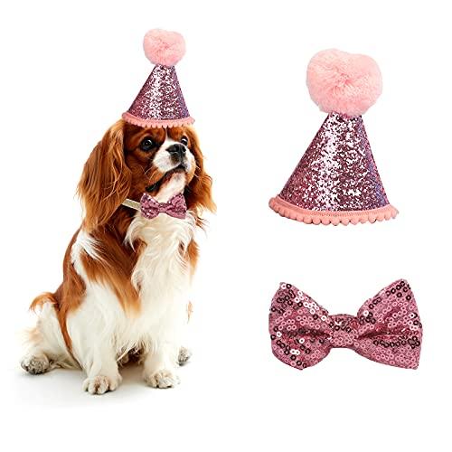 Sombrero de cumpleaños de Perro para Mascotas, Fiestas, Gatos, Gorros, Accesorios de Aseo, Diadema Ajustable, Pompones, Color Azul (Rosa)