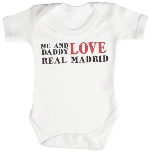 TRS - Me & Daddy Text Love Real Madrid Baby Bodys/Strampler 0-3 Monate weiß