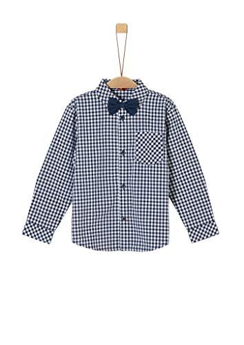 s.Oliver Jungen Hemd mit abnehmbarer Schleife dark blue check 104/110.REG