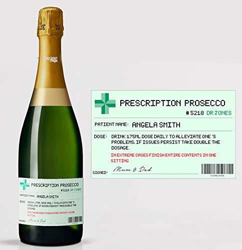 Gepersonaliseerd recept Prosecco Flessenlabel op maat - Perfect cadeau-idee - Elke tekst voor elke gelegenheid of evenement - Party Favour/Wedding Favour/Verjaardagscadeau