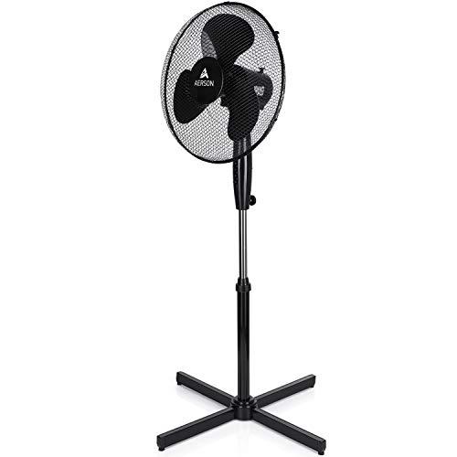 AERSON Standventilator 40cm | Ventilator höhenverstellbar bis 120cm - hoher Luftdurchsatz | 3 verschiedene Geschwindigkeitsstufen | Oszillationsfunktion ca. 80° (Schwarz)