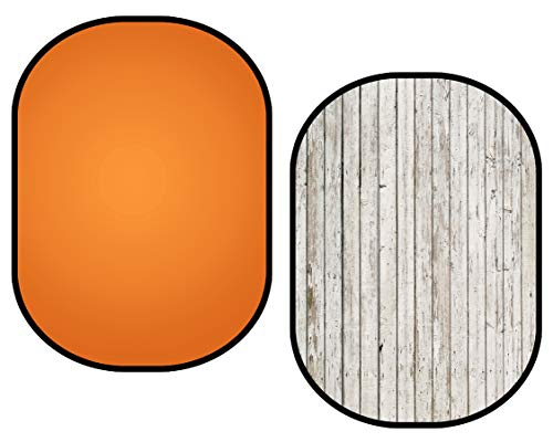 Kate 5x6.5ft Collapsible Backdrop Wood Orange Collapsible Backdrops Popup Background Foldable