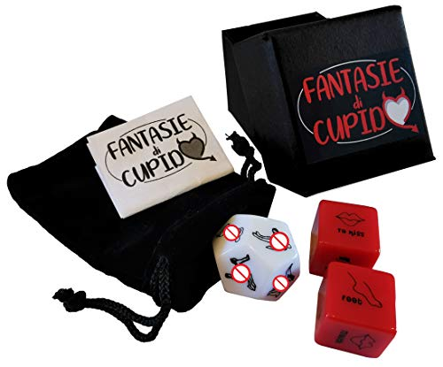 Fantasie di Cupido Juego de 3 dados de juego de pareja divertidos y originales – Juego de 3 dados con bolsa de terciopelo ideales para San Valentín, despedida de soltera, marca italiana