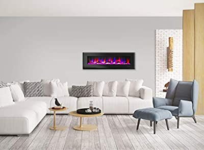 Cambridge CAM60WMEF-2BLK 60 In. Wall-Mount Electric Fireplace in Black with Multi-Color Flames and Driftwood Log Display