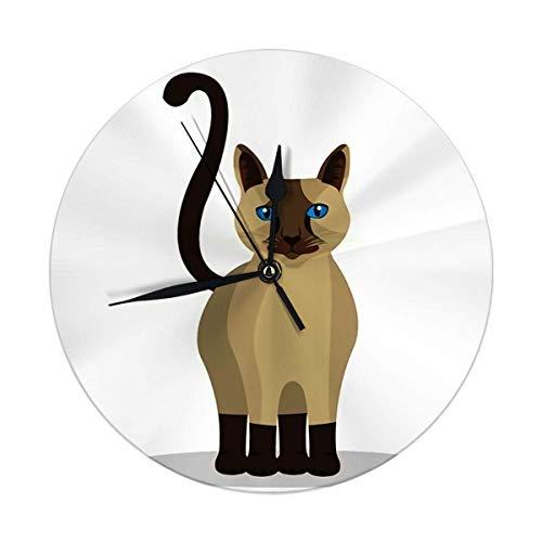 NoBrand - Reloj de pared, diseño de animales sobre blanco, reloj de pared silencioso para 25 cm