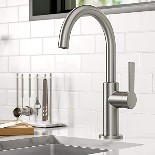 Kraus KPF-2822SFS Oletto Single Handle Kitchen Bar Faucet, 12 Inch, Spot Free Stainless Steel