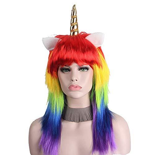 Der Perruques de Licorne for Les Femmes avec la Fibre synthétique Bangs colorée Longue Perruque de Cheveux raides Arc-en-Ciel coloré (Color : Multi Co