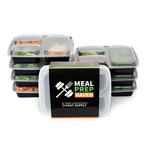 Meal Prep Haven 3 Compartment Airtight Lid Food Containers, 32 oz, Multicolored
